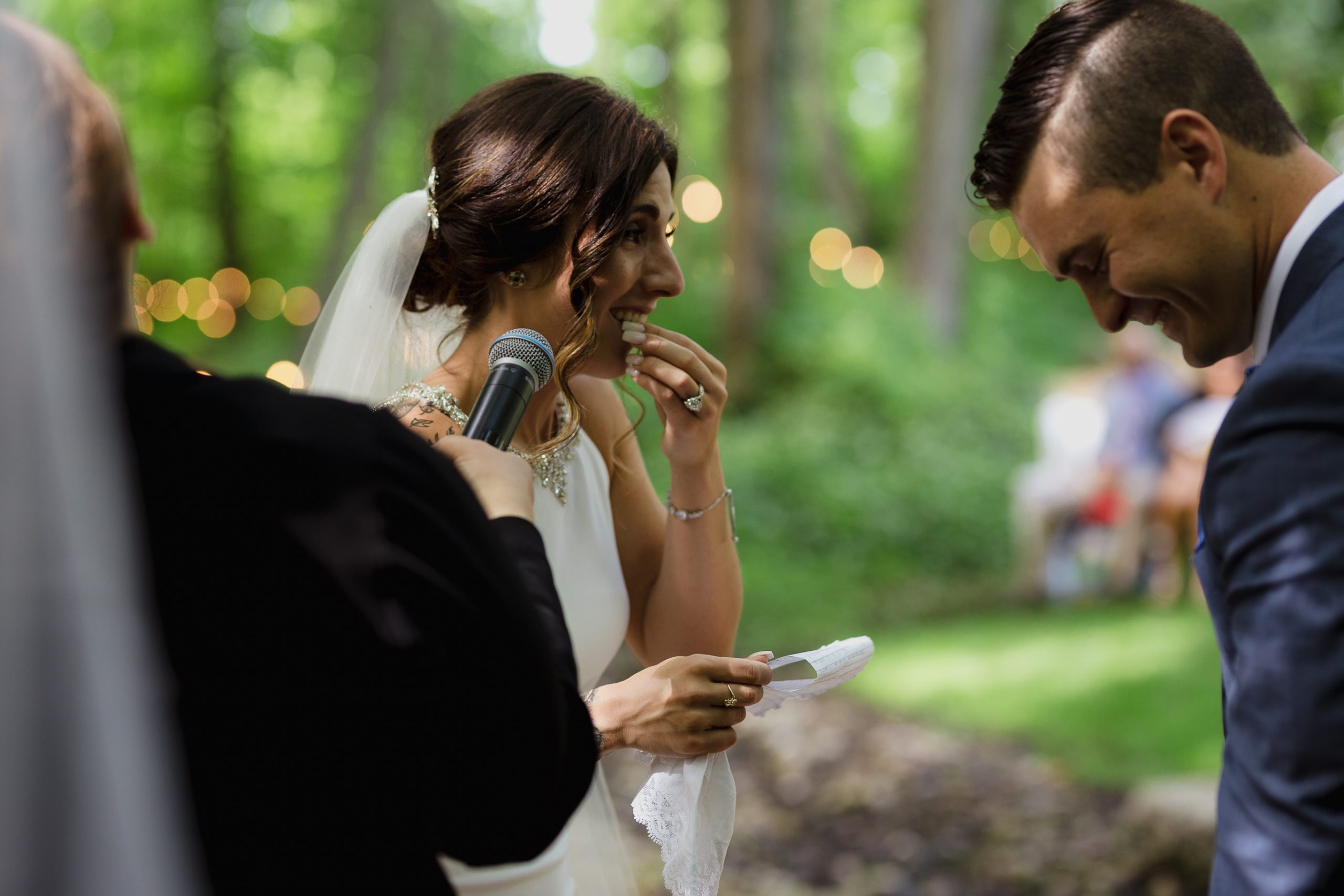 Wedding photos ceremony bride forgets her gum is in her mouth at the alter