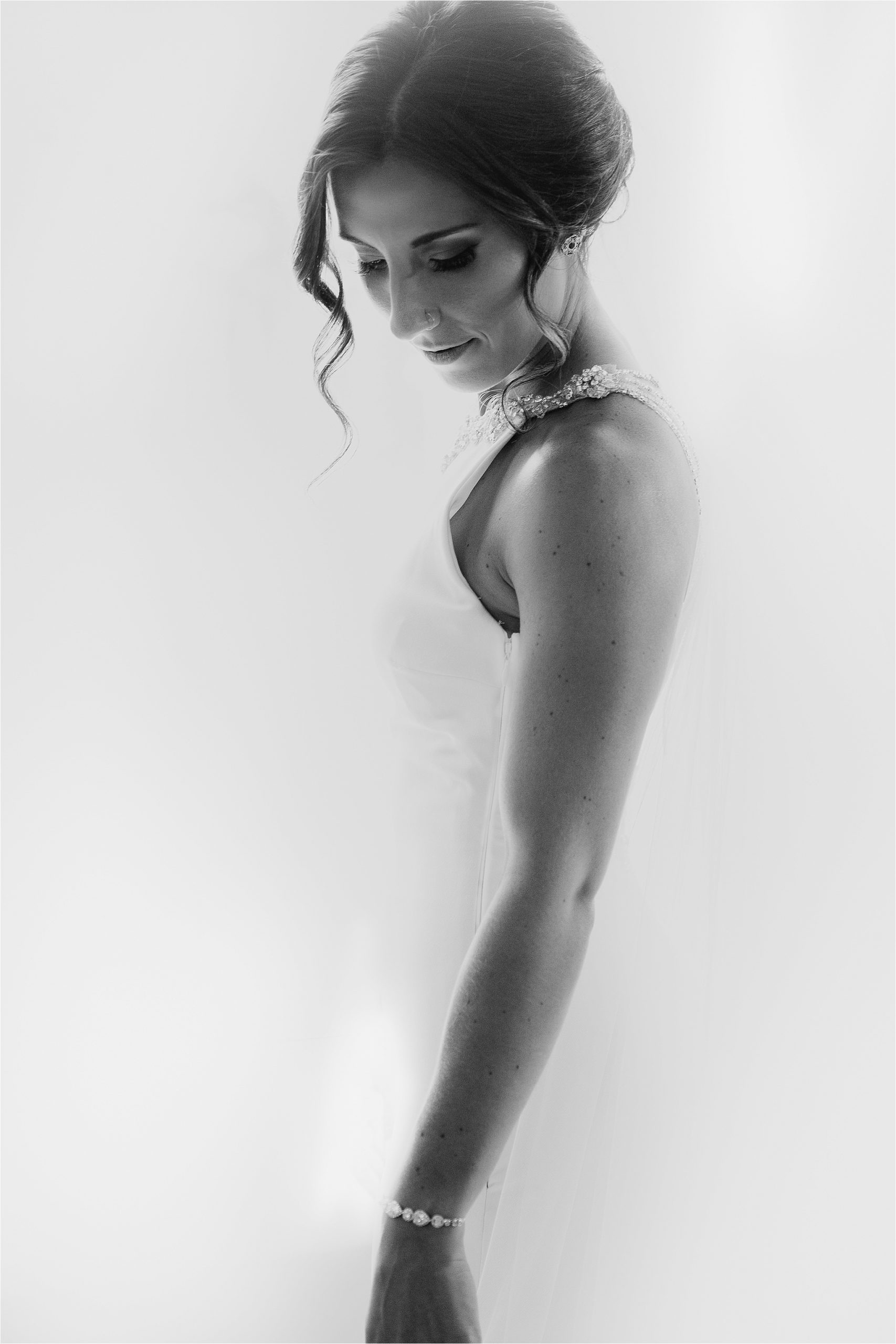 Bride in wedding dress, artsy, black and white
