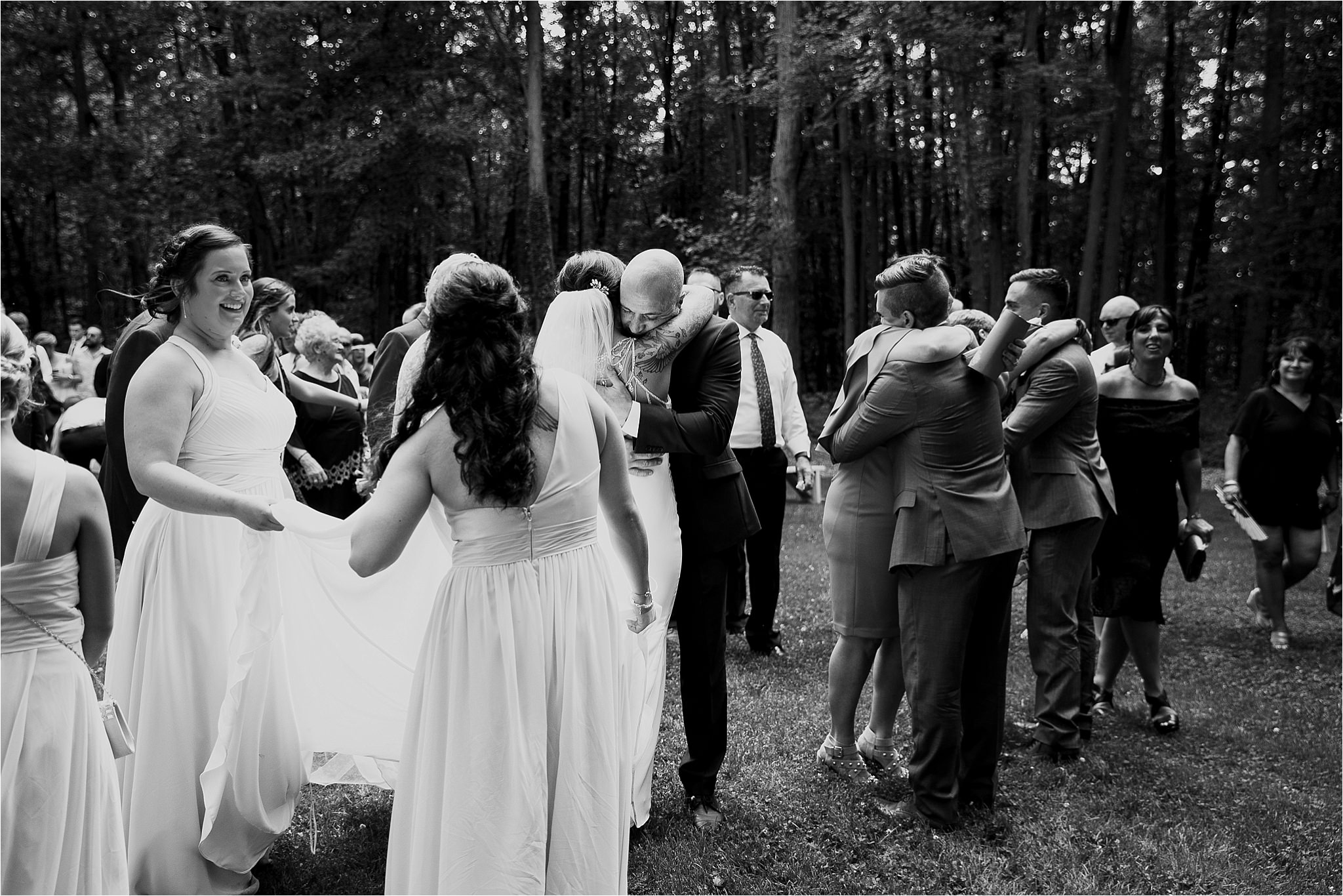 Sonia V Photography, The Clearing ceremony wedding venue, hugs after the ceremony