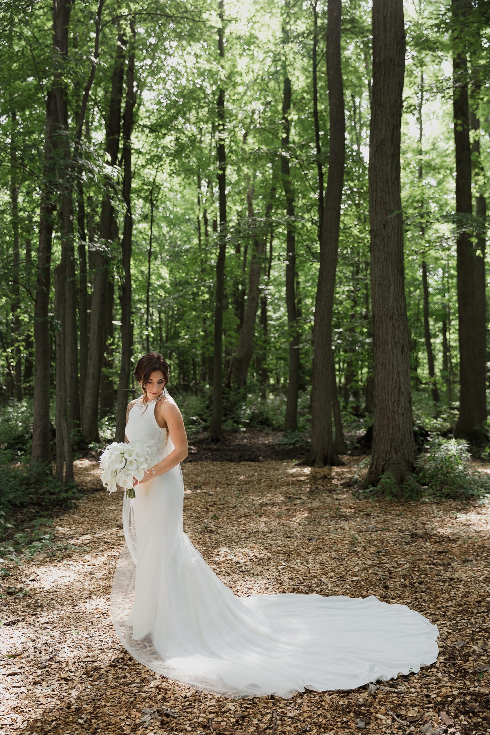 Sonia V Photography, The Clearing ceremony wedding venue, bride in the fores