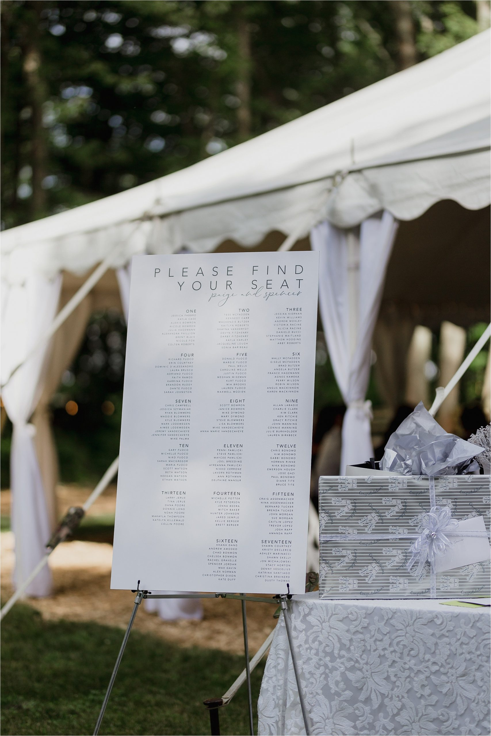Sonia V Photography, The Clearing reception wedding venue, seating chart, table numbers