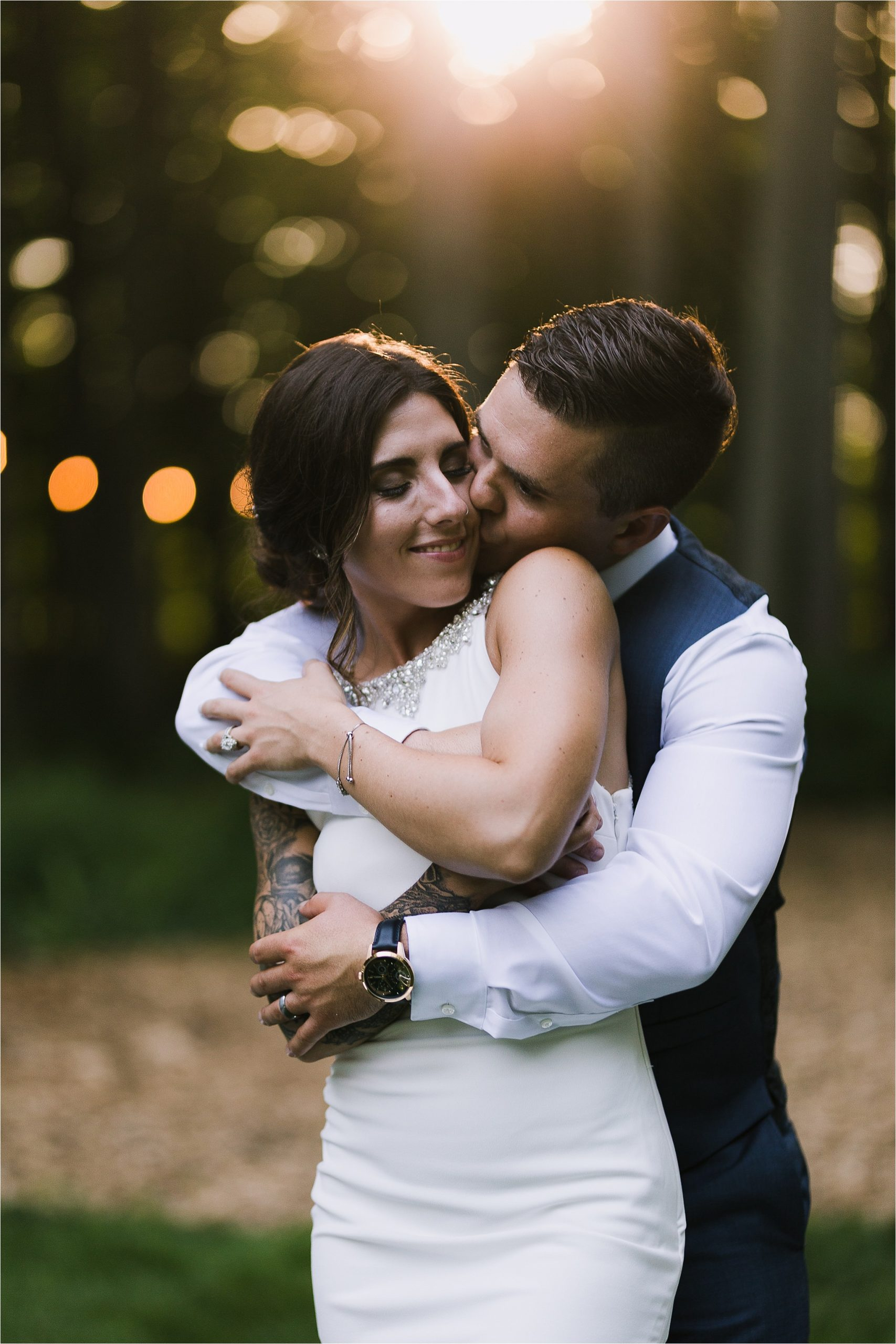 Sonia V Photography, The Clearing reception wedding venue, sunset golden hour bride and groom portraits