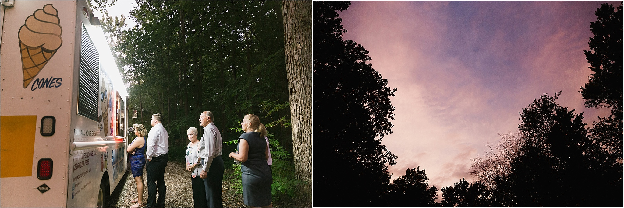 Sonia V Photography, The Clearing reception wedding venue, outdoor tent dinner cotton candy sky and ice cream truck for dessert