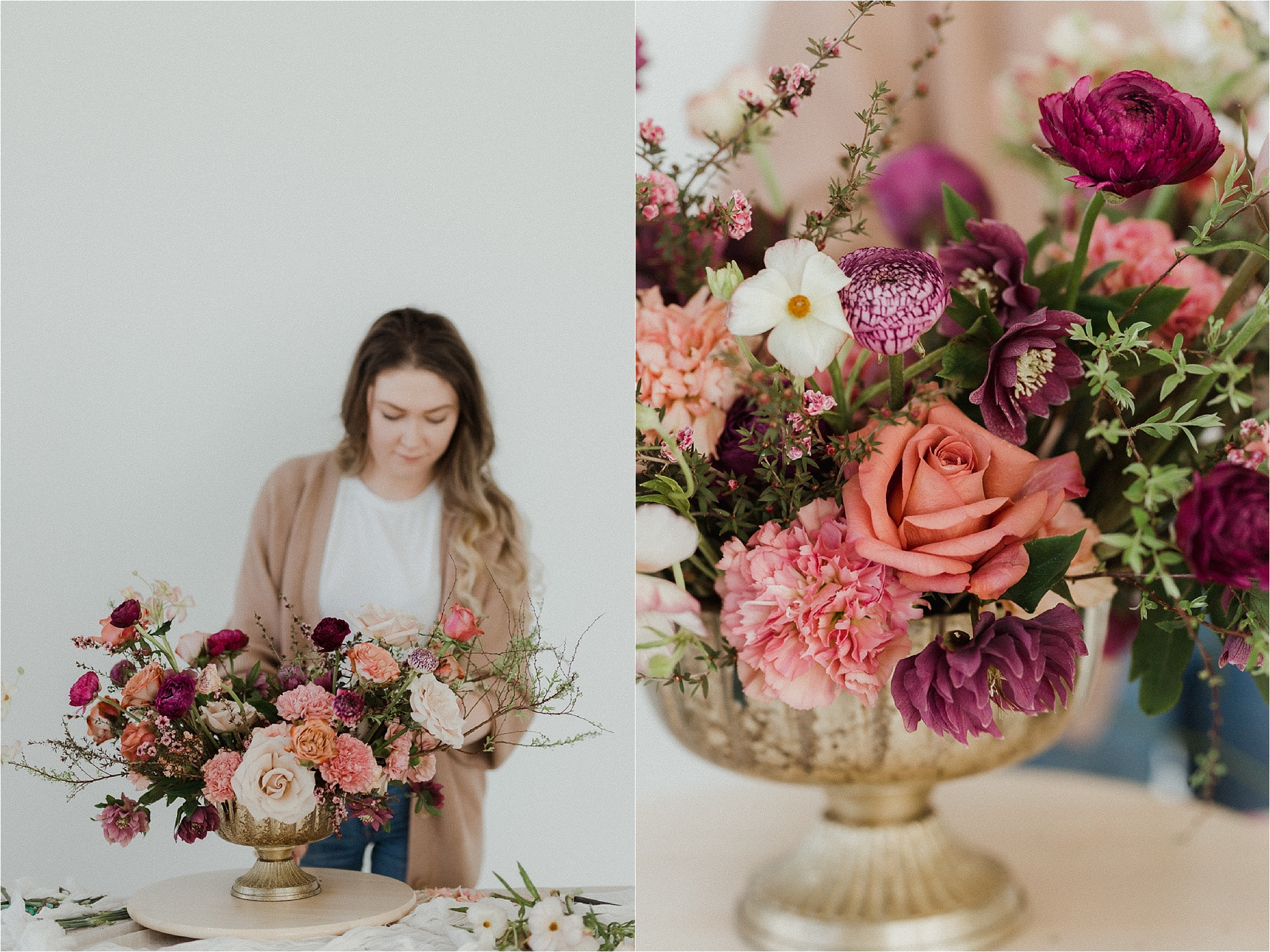 Creative small business branding photography AM florals florist creating arrangement in white photography studio