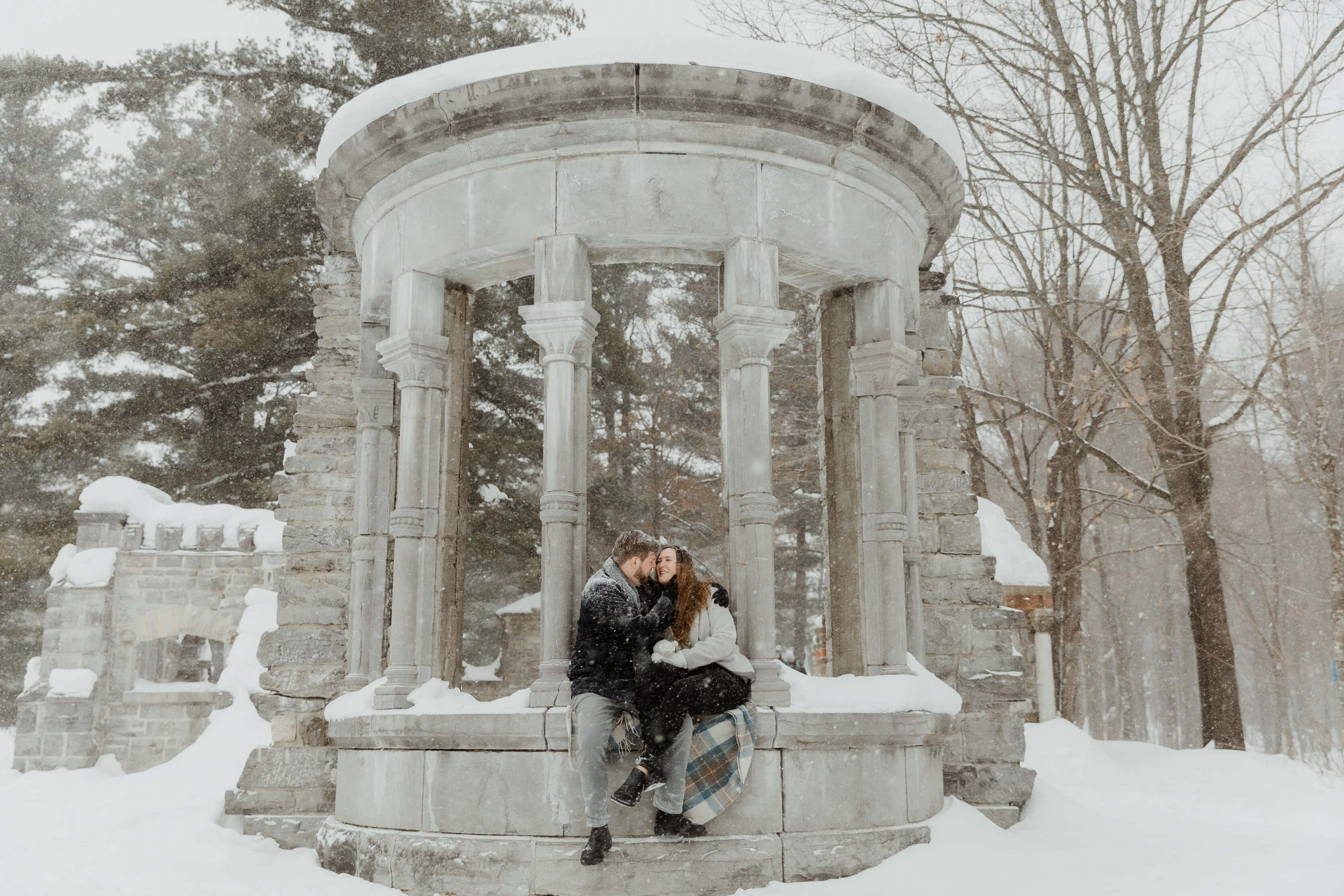 Winter wonderland engagement photos at McKenzie King Estates in Gatineau Park, QC by Sonia V Photography