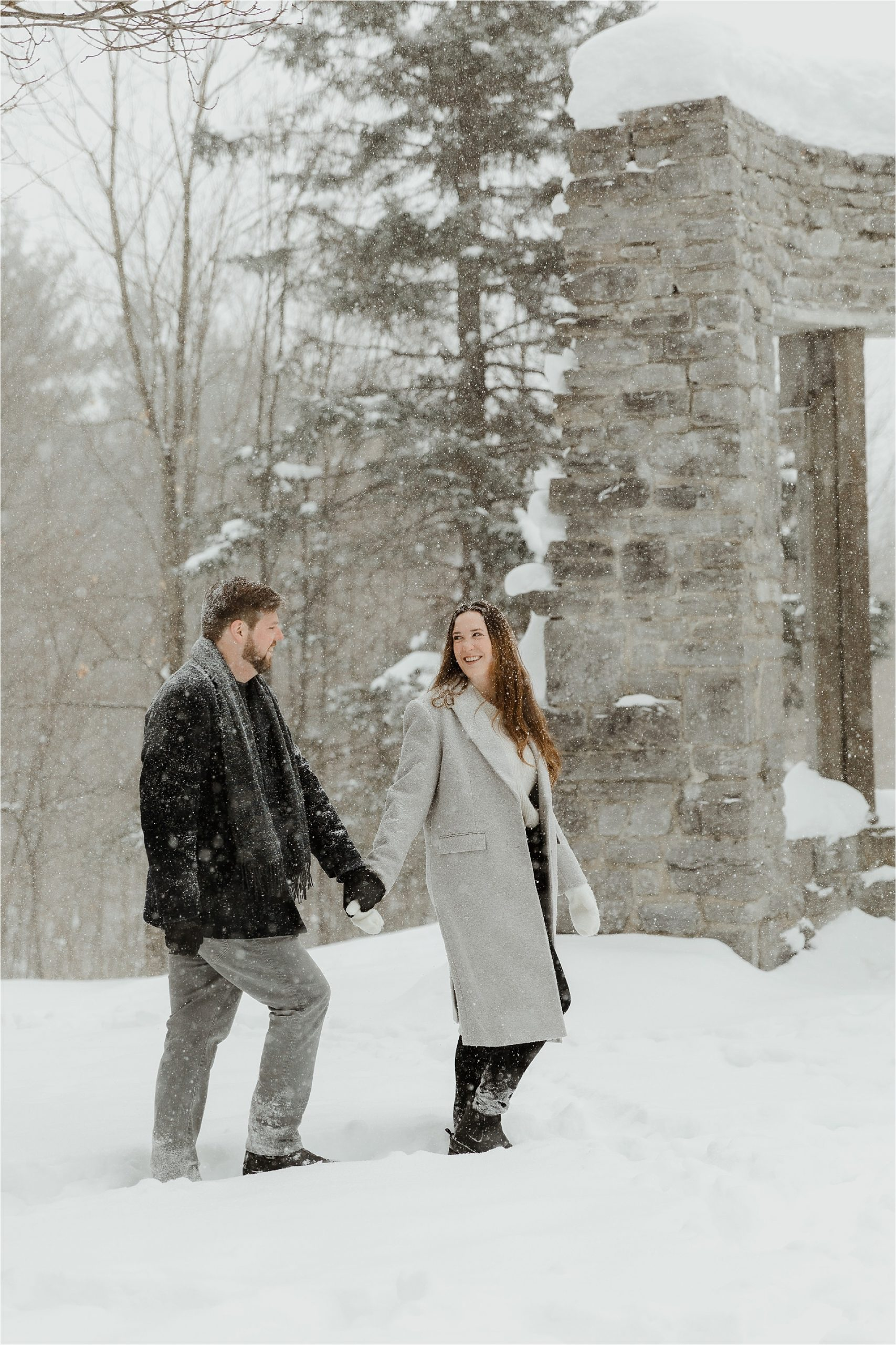 Snowy winter engagement photo shoot at McKenzie King Estates in Gatineau Park - Ottawa wedding photographer