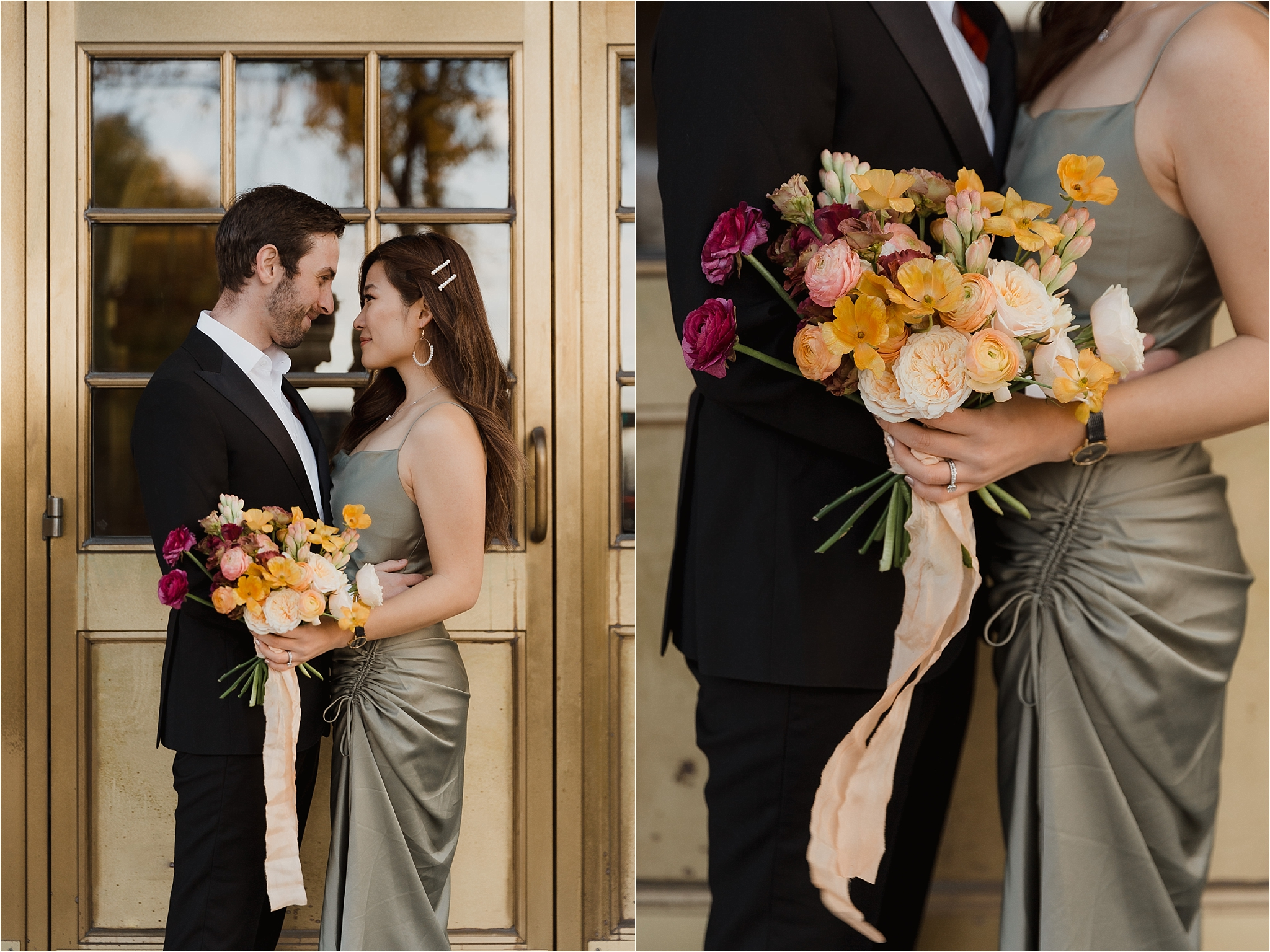 Downtown Ottawa elopement photo shoot ombre bouquet, Wellington building, photography by Sonia V Photography