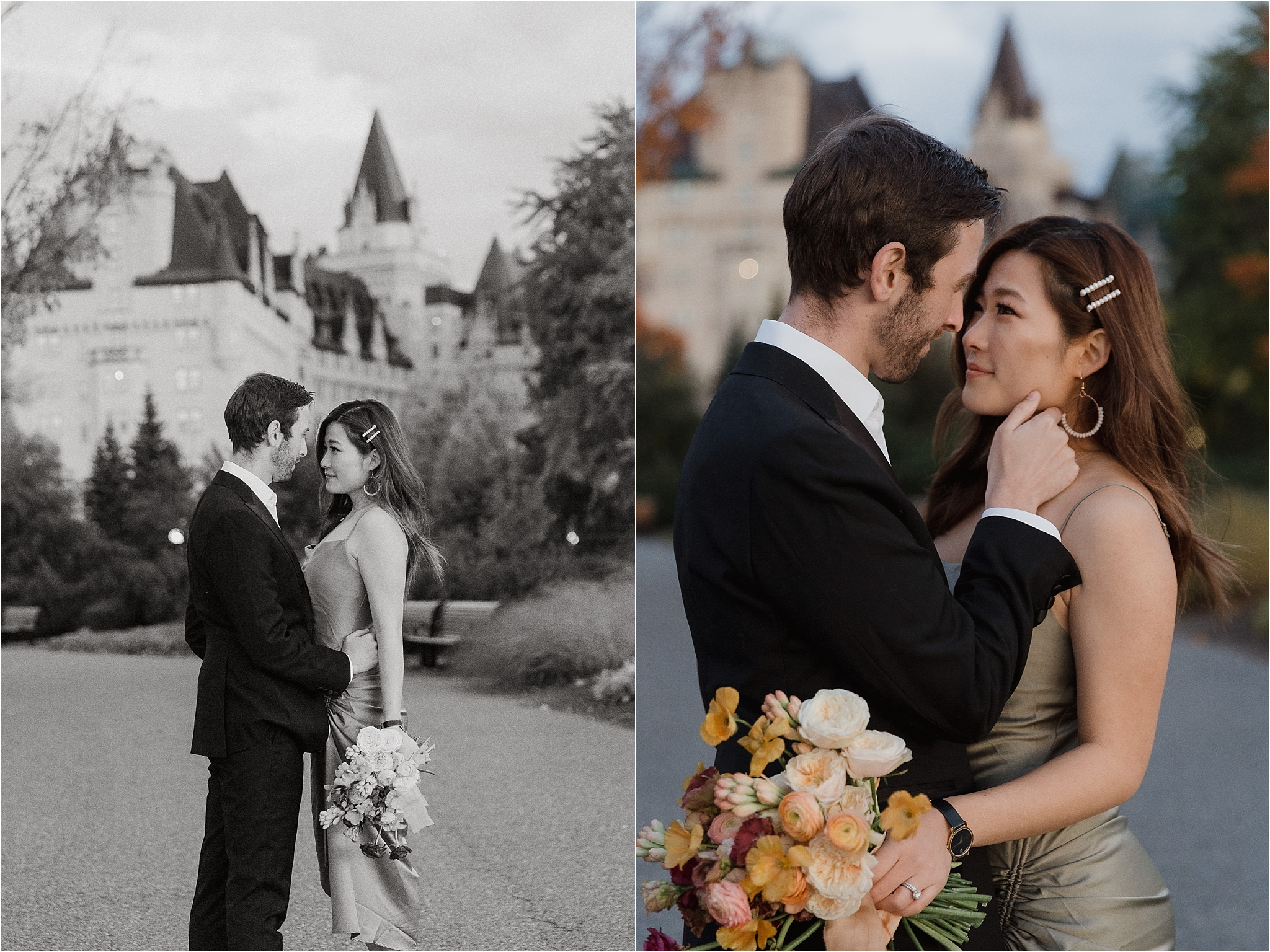 Downtown Ottawa elopement photo shoot ombre bouquet, Major's Hill Park, photography by Sonia V Photography